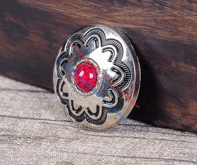 10PC 30MM Red Turquoise Flower Western Leathercraft Silver Concho Screwback