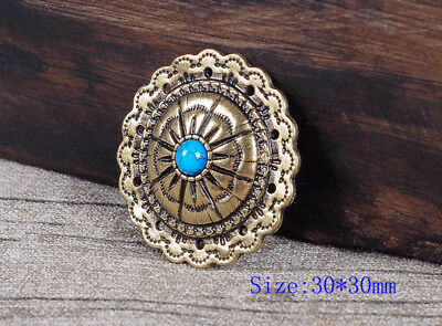 10PC 30MM Bule Turquoise Starburst Antique Brass Scalloped Concho Tack Screwback