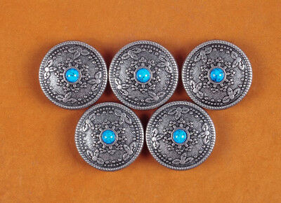 10PC 26MM Bule Turquoise Sunburst Old Silver Floral Rope Leathercraft Conchos
