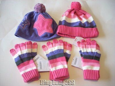 Gymboree SUPER STAR Purple Pink Hats & Strip Gloves Size 8 + 8 and Up NWT Winter