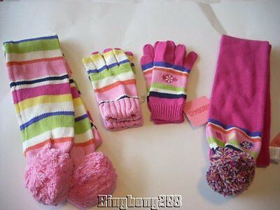 Gymboree CANDY SHOPPE Strip Candy Scarf Gloves Size 8+, 8 and up Girl NWT Winter