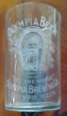 "OLYMPIA BREWING COMPANY BEER GLASS Tumwater, WA Pre-Prohibition ""It's the Water"""