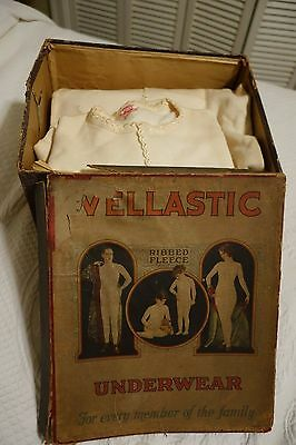 """BOX OF 3 VINTAGE WOMENS GIRLS """"VELLASTIC"""" UNION SUIT UNDERWEAR, RARE, Early 1900"""