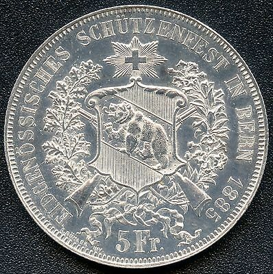 "Switzerland 1885 5 Franc "" Shooting Thaler "" Silver Coin (.835)"