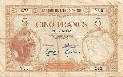 New Caledonia  5 francs  ND.1926  P 36b  Series C.69 Circulated Banknote LB0617j