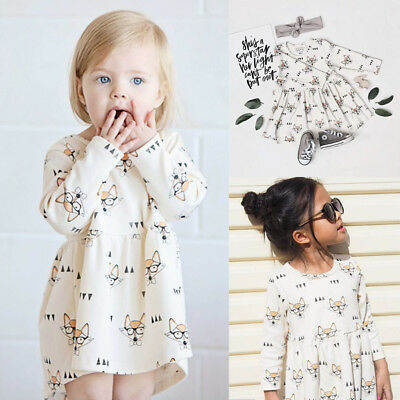 UK Toddler Baby Girls Dress Princess Glasses Fox Casual Party Dresses Clothes