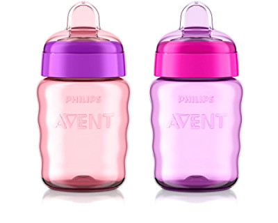 Sippy Cup Philips Avent My Easy Cup 9 Ounce Pink Purple Stage 2 colors may vary