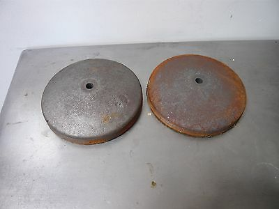 Pair Of Vintage Cast Iron Bases For Industrial Lamp Conversion