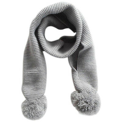 PF Baby Neck Winter Warm Solid Color Scarf Boy Girl Knitted Scarf (Gray)
