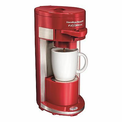 Flex Brew Single Serve K-Cup Coffee Maker Adjustable Cup Rest Red 600 Watt