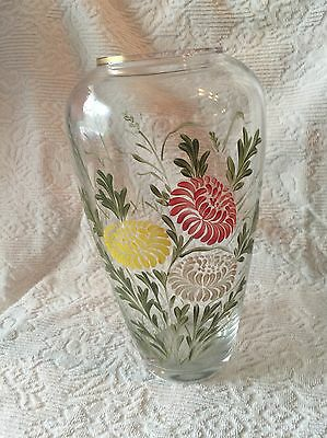 Vintage/Antique Clear Glass Vase Hand Painted Chrysanthemums Red White Yellow