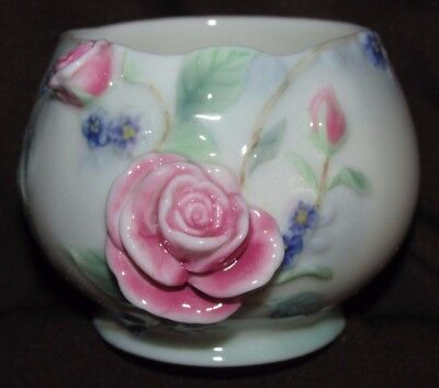 Franz Miniature  Bowl Dish Roses Floral Signed William Ho FZ00703 Porcelain7CmW