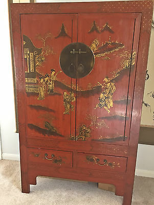 Beautiful Antique Chinese Red Lacquer Painted Cupboard Armoire w/ Gold Gilt Deco