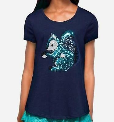 NWT Justice girls 16 sequin squirrel critter tee top shirt navy blue new
