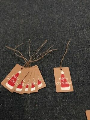 Handmade Handcrafted Christmas Natural Rustic Christmas Santas Hat  Tags x 6