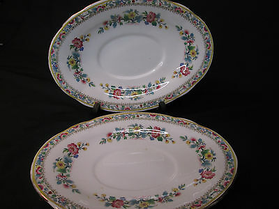 Foley Porcelain  Pair Of Small Oval  Plates In Ming Rose