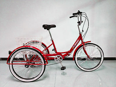 """ADULTS FOLDING TRICYCLE, 24"""" WHEELS, 6 SPD SHIMANO GEARS, RED, adult tricycle"""