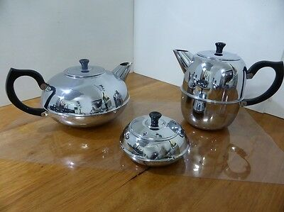 Chrome plated Teapot, Coffee Pot and Sugar Bowl set