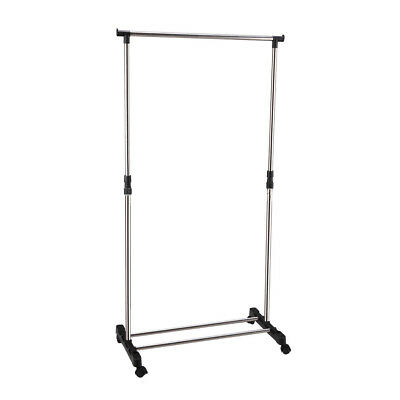 PF IKAYAA Adjustable Castor Wheels Rolling Garment Rack Rail Clothes Hanger AD Z