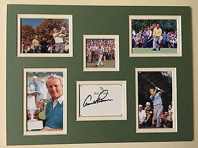 """Golf Arnold Palmer Signed 16"""" X 12"""" Double Mounted Display"""
