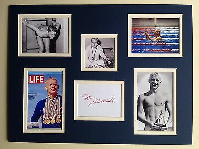 "Swimming Don Schollander Signed 16"" X 12"" Double Mounted Display"