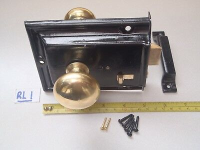 A Re-Claimed And Re-Furbished Vintage Rim Lock Set  With Brass Knobs (Ref Rl 1)