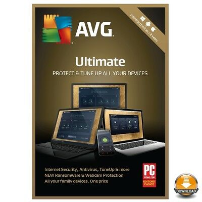 Avg Ultimate 2018, 2 Years - For Unlimited Devices, Windows, Mac, Android No Cd