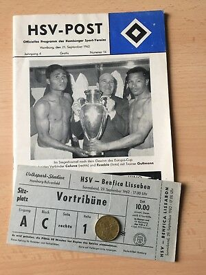 Programme + Ticket 29.september 1962 Hamburger Sv - Benfica Lissabon Portugal