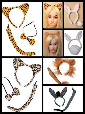 Animal Ears Headband & Tail Safari Fancy Dress Costume Set Unisex Kids Adults Uk