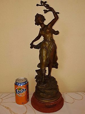 "French Antique Bronzed Spelter 17"" Figure Statue SPRING TIME by Rancoulet"