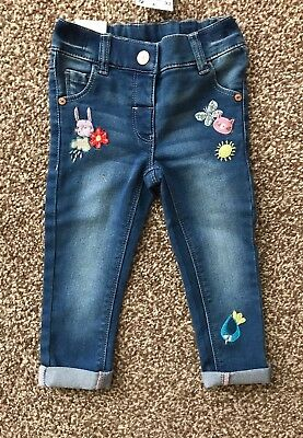 Next Sp Sweetpea Bunny Embroidered Skinny Jeans Age 12 ~ 18 Mths Bnwt