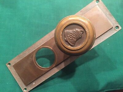 Antique Cast Bronze Emblematic Door Knob & Plate - Canadian Bell Telephone