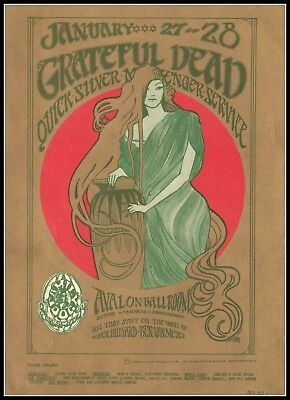 1967 MiniPoster/Postcard/Flier Grateful Dead/Quicksilver MS/Avalon Ballroom
