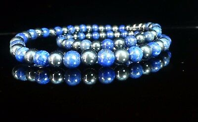 Lapis Lazuli Hematite Necklace Therapeutic Gemstone