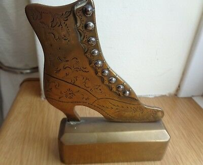 Vintage Solid Brass Ladies Victorian Buttoned Boot Door Stop Ornament Prop