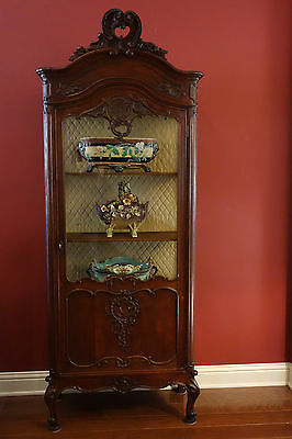 Antique French Carved Oak Vitrine Glass Display Cabinet Louis XV Rococo Bookcase