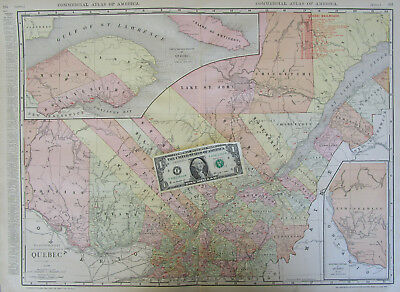 1916 QUEBEC RAILROAD RAILWAY Wall Map 1910s Map Art Print Decor CANADA
