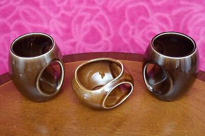 2 Vintage Holkham Pottery Brown Owl Eye Mugs & Sugar Bowl