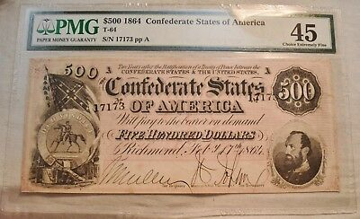 1864 $500 PMG 45 Confederate Currency Five Hundred Dollar Note, CSA T-64 NICE XF