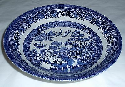 "Churchill Blue Willow 9"" Round Serving Bowl  Black Logo~~ENGLAND"