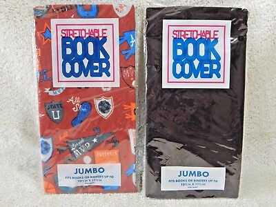 2 NEW Jumbo Book Covers Stretchable Fabric Sports & Black Washable & Reusable