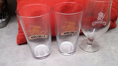 Set Of 3 United Kingdom Beer Glasses  - Hobgoblin - 2 Styles -Wychwood Brewery