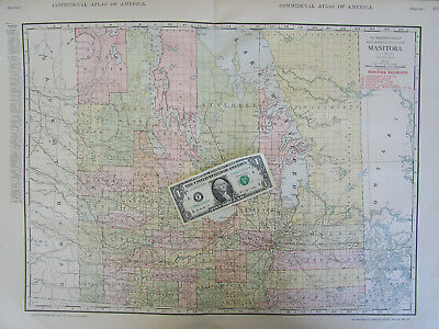 1916 MANITOBA or NORTHERN ONTARIO RAILROAD RAILWAY Wall Map 1910s Map Art CANADA