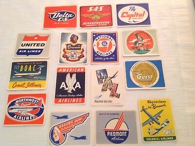 Wheaties Airline Stickers Complete Set Of 15 c. 1952