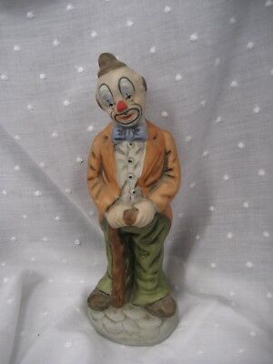 "clown figurine with walking stick 7.5"" tall UCCC"