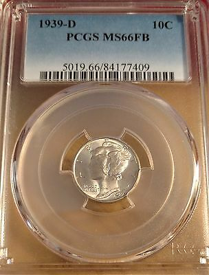 "1939-D Mercury Silver ""full Split Bands"" Dime Pcgs Ms-66 Fb"