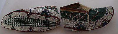 Antique pre 1900's Sioux Native American fully Beaded large mans hide Moccasins