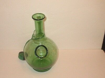 50's Style Green Wine Carafe, 10.5 x 7 Inches, With Spout, Ice Chiller