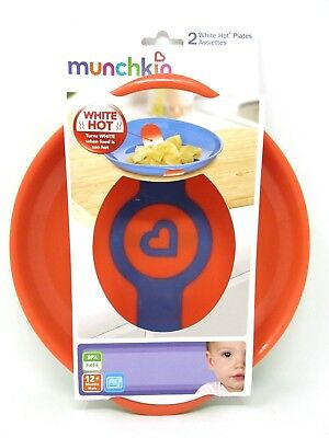 Munchkin White Hot Toddler Plates Green and Orange  2 Count