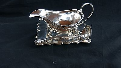 Vintage Silver Plated Sauce Boat By,t.w & S. Epns Tray & K Wallace Gravy Spoon